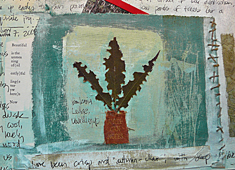 Journal american notes page with leaves