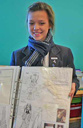 Megan and her portfolio scrapbook