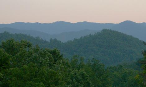 Distant summer twilight view