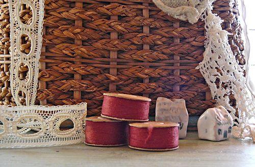 Red vintage spools