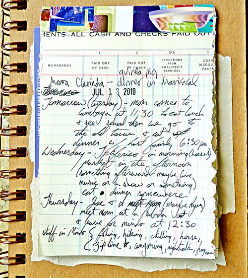 Journal page inside back