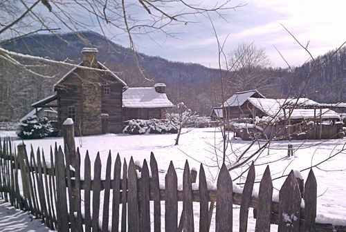 Park farmstead in snow