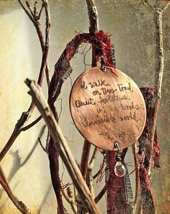 Red thread haiku single on branches