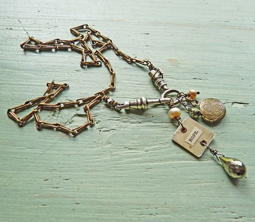 Key necklace with hope charm