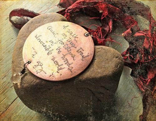 Red thread haiku on heart