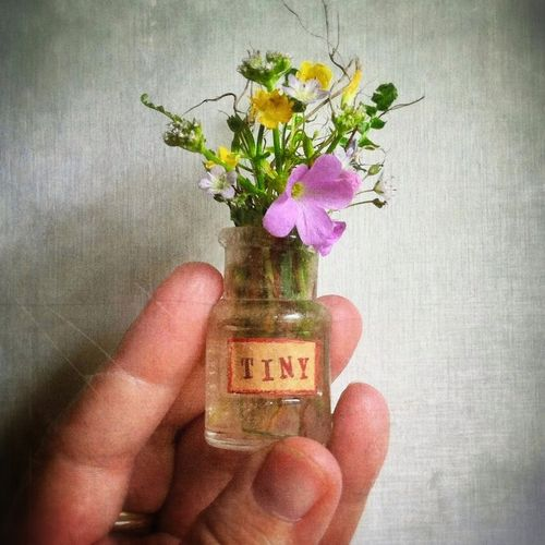 Tiny posie in a bottle