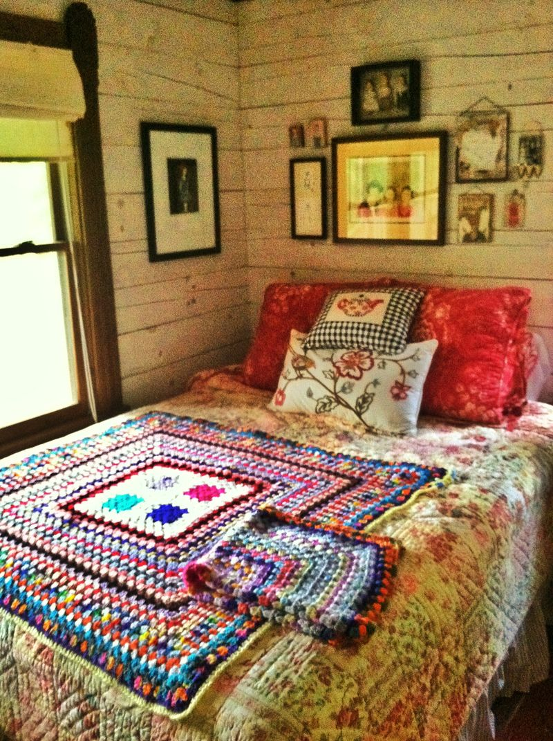Grainy rainy bedroom of color