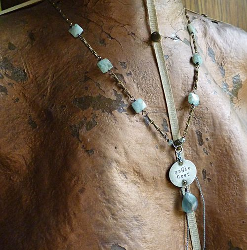 Prologue blue green necklace with charm on abi