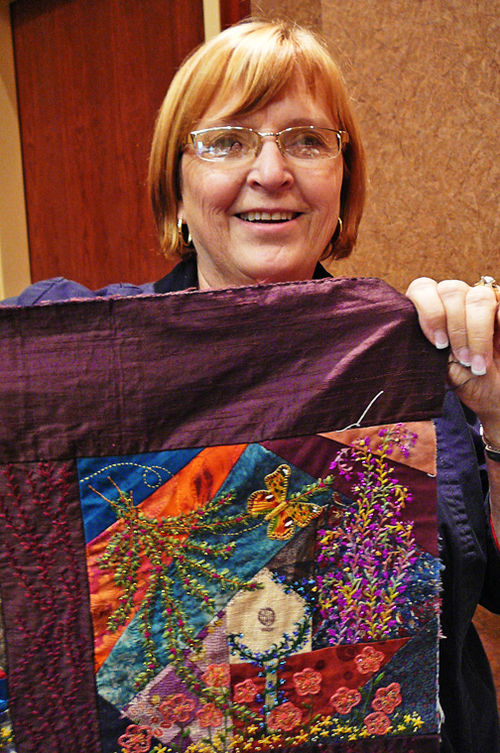 Bonnie and her incredible quilt 1