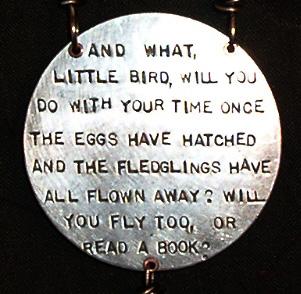 Little Bird, backside of necklace