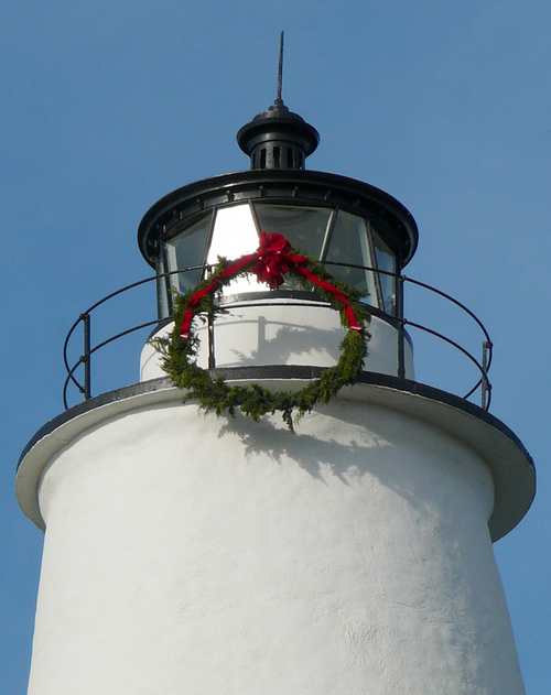 lighthouse adorned for the season