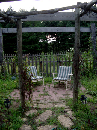August garden at twilight